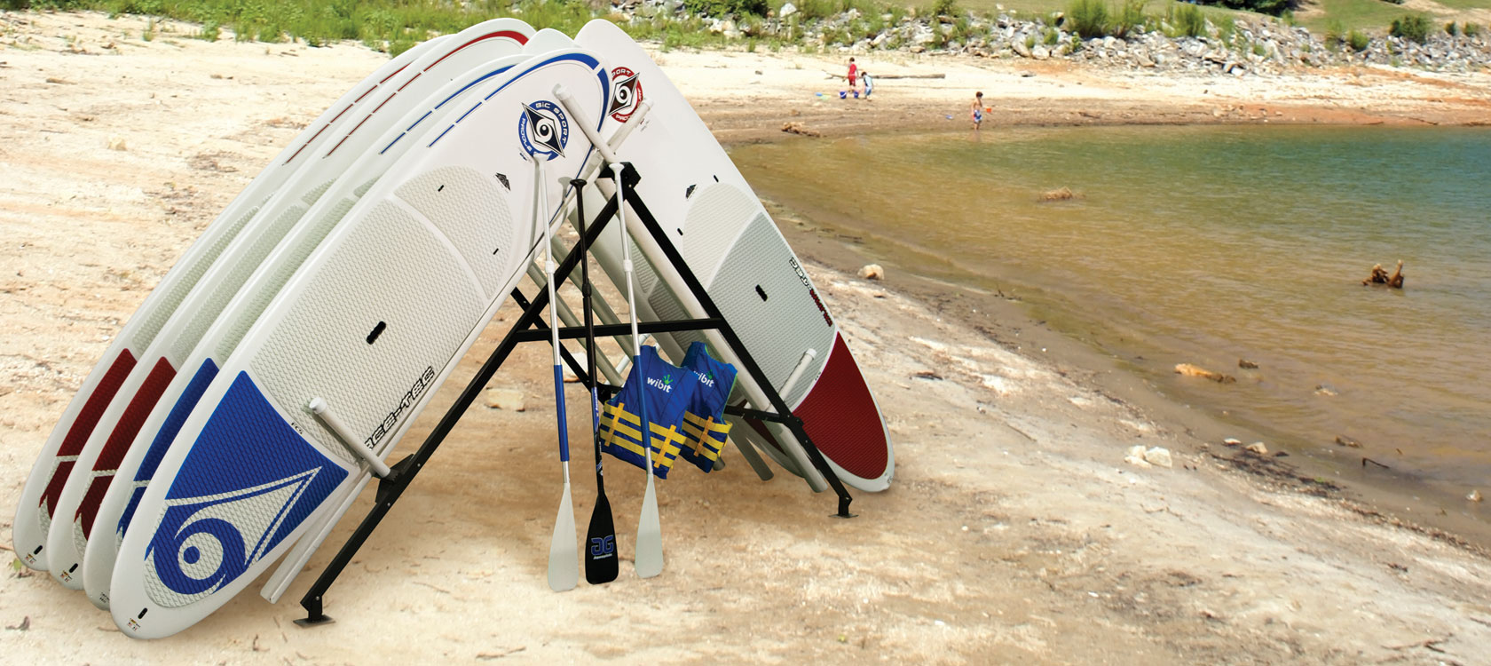 Stand-Up Paddleboard Rack - Commercial Recreation Specialists on board cart, carrier cart, collapsible dock cart, four paddlewheel cart, foldable kayak cart, skate cart, bike tow cart,